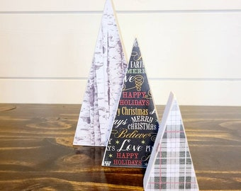 Scrappy tree, set of 3: birch, Christmas words, and dark green/red plaid.