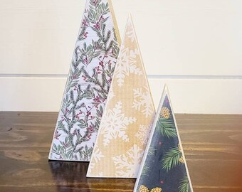 Scrappy tree, set of 3: pine/berries, neutral snowflake, and pine
