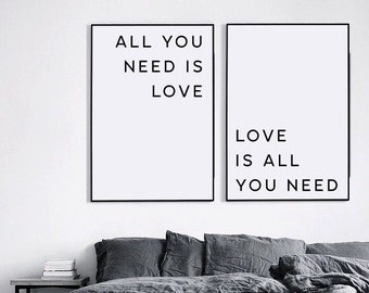 All you need is love, Valentines day, Beatles Lyrics, Love is all you need, Love print, Valentines print, Valentines printable