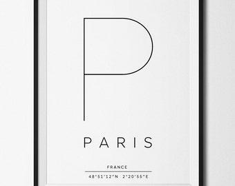 Paris print, Paris poster, Paris printable, Paris coordinates, Paris decor, Paris art, French print, French poster, French art, French decor