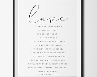 Love is patient love is kind, Valentines Day Gift, Love is patient print, Gift for Him, Love is patient poster, 1 Corinthians 13