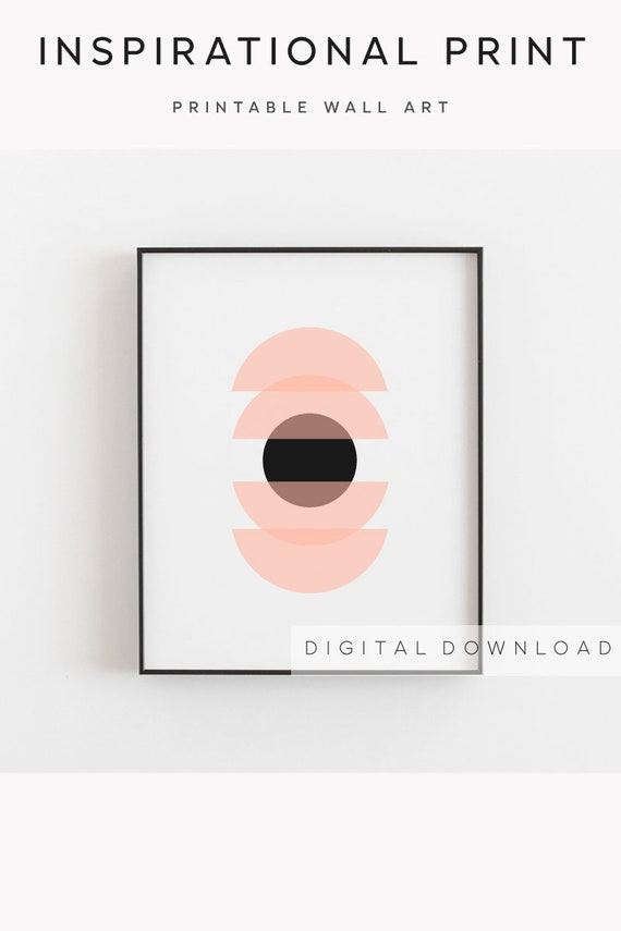 Geometric print, Сircle print, Abstract print, Peach black decor, Geometric art, Scandinavian Style, Geometric poster, Minimal Decor