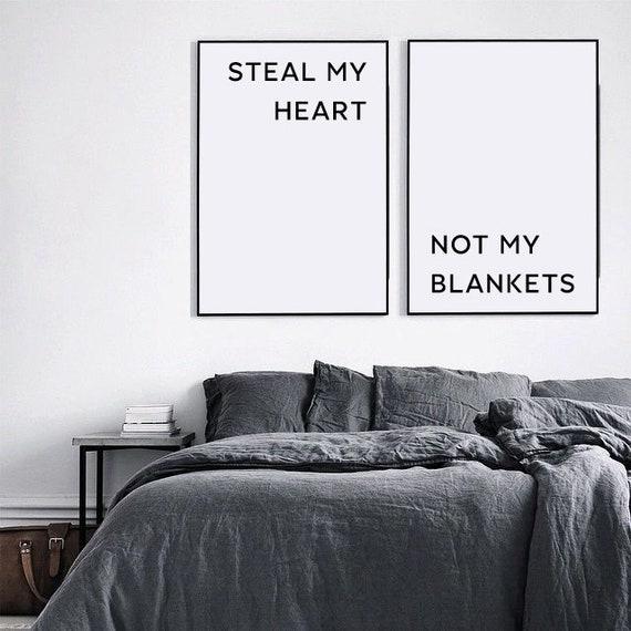 Arredamento camera da letto, decorazione della parete, camera da letto  divertente stampe, rubare il mio cuore non le mie coperte, camera da letto  ...