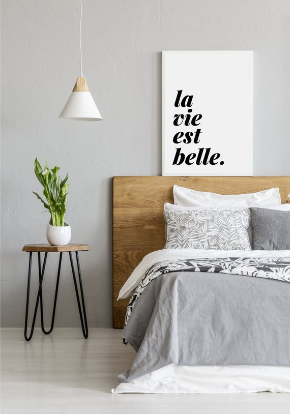 das leben ist sch n franz sisch zitat inspirierende etsy. Black Bedroom Furniture Sets. Home Design Ideas