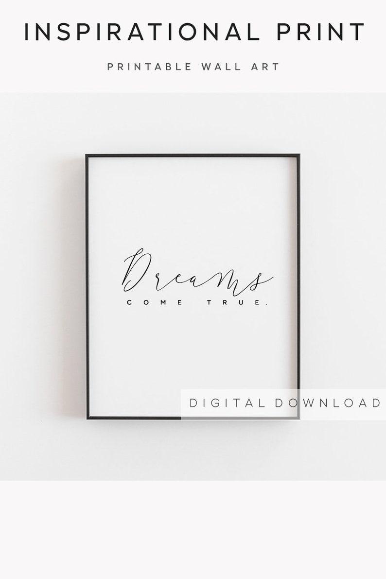 Motivierende Wandkunst Träume Kommen Wahr Traum Druck Traum Plakat Traum Bedruckbar Träume Druck Zitat Druck Inspirierende Druck