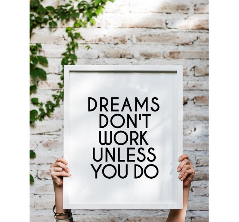 Motivational quote Dreams print Inspirational dorm wall image 0