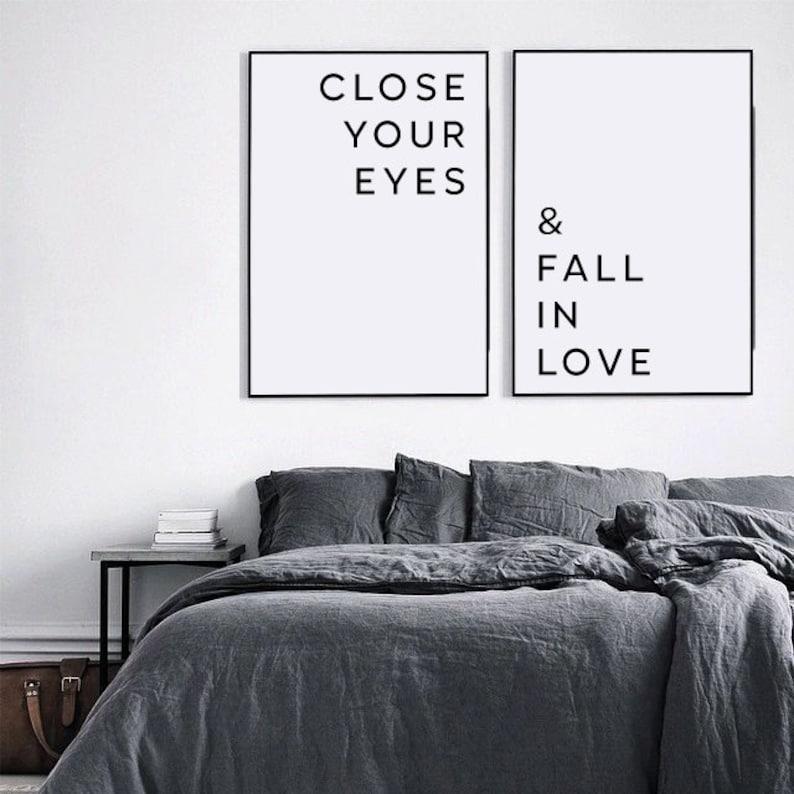 Liebe Poster, Schlafzimmer-Wand-Kunst, schließen Sie die Augen und  verlieben sich ineinander, Liebeserklärungen, freundgeschenk, Schlafzimmer  ...