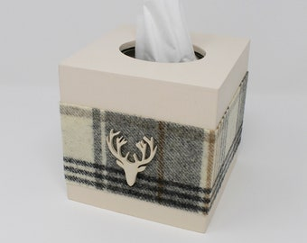 Tissue Box Holder, Tissue Box Cover, Grey Tissue Box, Gifts for Men, Stag Gifts, Highland Cow Gifts, Kleenex Box Cover, Tissue Box