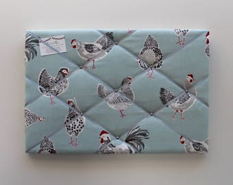 Roosters Pin Board, 60cm x 40cm, Chicken Pin Board, Blue Noticeboard, Hen Memo Board, Pin Board, Hen Fabric, French Memory Board, Chickens
