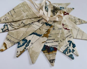 map fabric bunting map garland map flags world map bunting map pennants