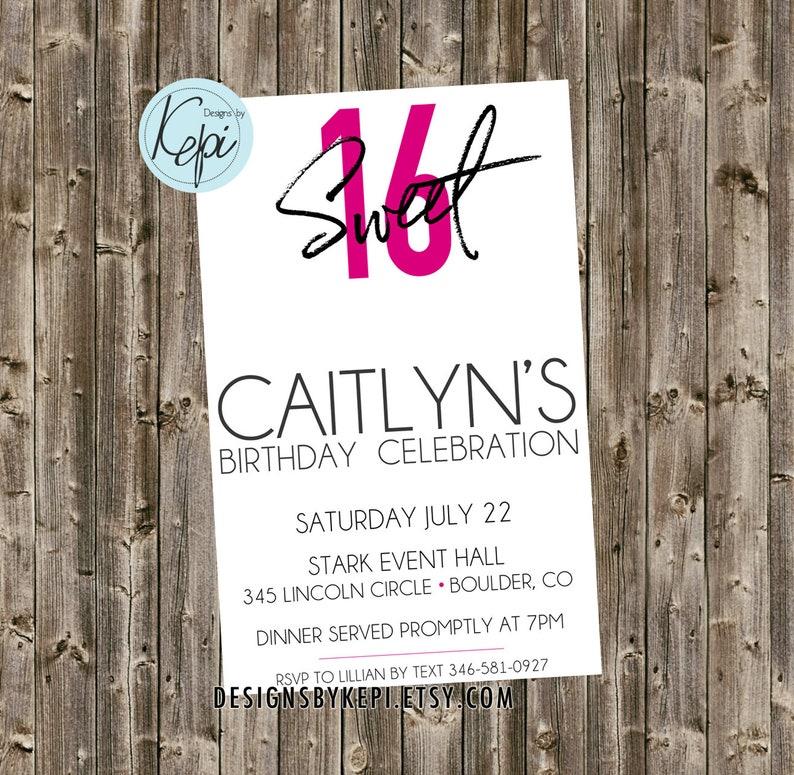 Birthday Invitation- Sweet 16 - Sophisticated & Simple