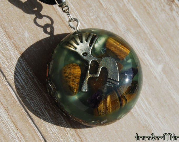 Kokopelli Orgone Necklace Pendant Resin Tiger Eye EMF Protection Positive energy generator lots of metal shavings Healing Balance Unique
