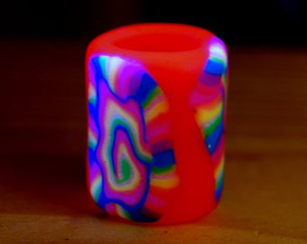 Pink Rainbow UV dreadbead Polymer Clay Blacklight 11 mm hole