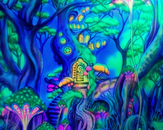 Psychedelic AIRBRUSH UV Tapestry Tree, Colorful Fantasy Forest Woodland