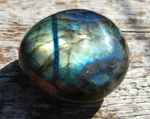 Flash Labradorite Large Palm Stone Madagascar, 59 grams, Polished