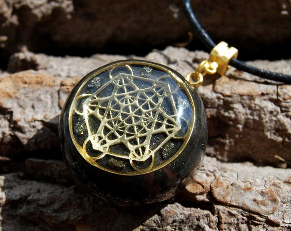Metatrons Cube Orgonite® Pendant Necklace with Pyrite Clusters, Unisex Homemade Unique
