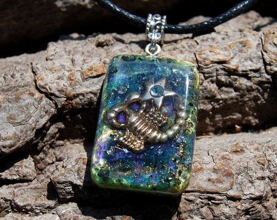Scorpio Orgonite® Pendant,  Zodiac Sign with clear terminated quartz crystals