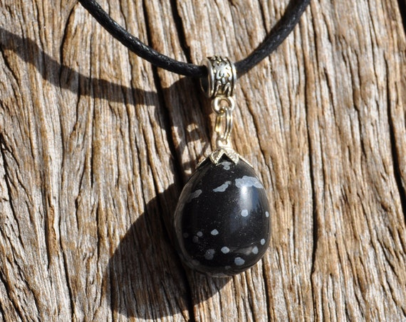 Black Obsidian pendant on adjustable Cord Necklace - FREE Shipping !