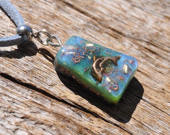 DOLPHIN Orgonite® Pendant Necklace with Quartz
