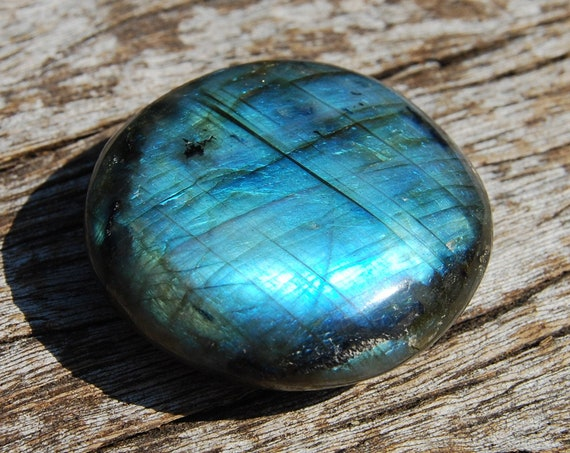 Flashy Labradorite stone Madagascar, 57 grams, Polished Large Palm Stone