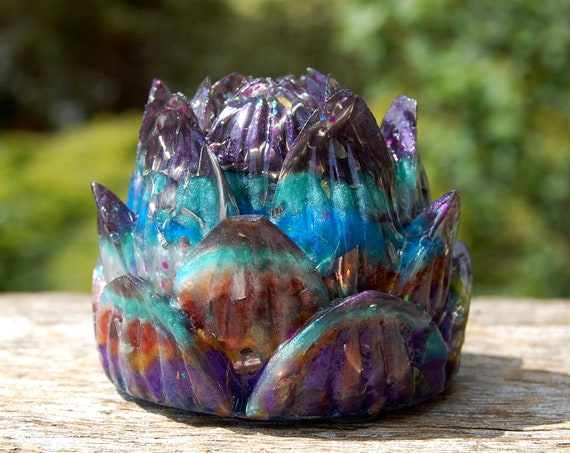 Lotus Orgonite® Orgone Generator® Tower Buster, Multi Color, Homemade Colorful