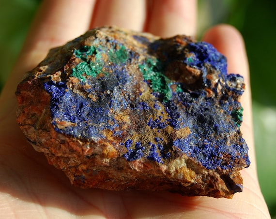 Druzy Azurite with Malachite inclusions, Raw Azurite on Quartz , 93 grams