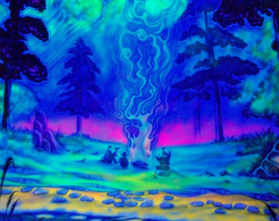 PsY UV Blacklight Backdrop Wallhanging Handpainted Airbrush CAMPFIRE Outdoor,  Deco