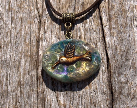 Peridot Hummingbird Orgonite® Necklace, Orgone Pendant