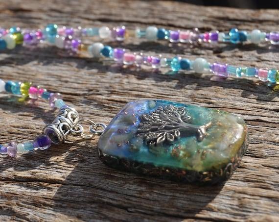 Tree Orgonite® Orgone Pendant with green Aventurine. Beaded Necklace