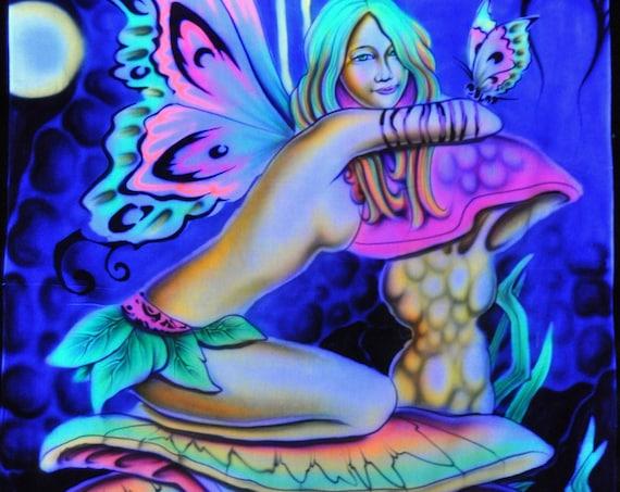 Fairy Mushroom Fantasy UV Wallhanging Blacklight Backdrop Deco Tapestry Painted Airbrush