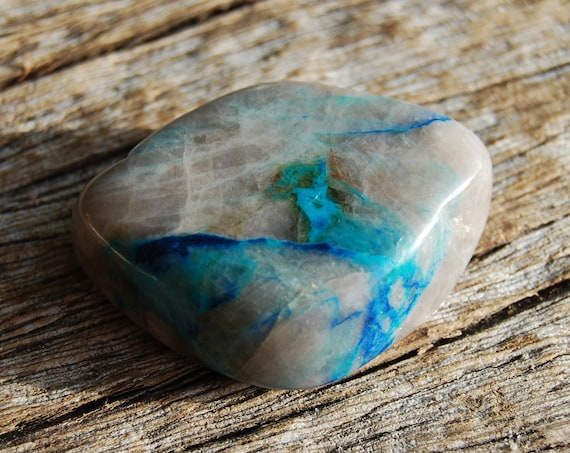 Quantum Quattro Polished Stone, Authentic Chrysocolla, Azurite, Malachite and Dioptase Inclusions in Smokey Quartz, Natural Untreated