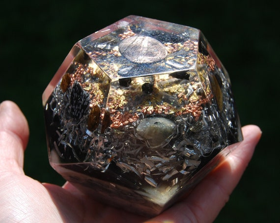 Orgonite® Dodecahedron with Hypersthene, 24K Gold  - - lots of Metal Shavings - 485 grams - FREE Shipping !
