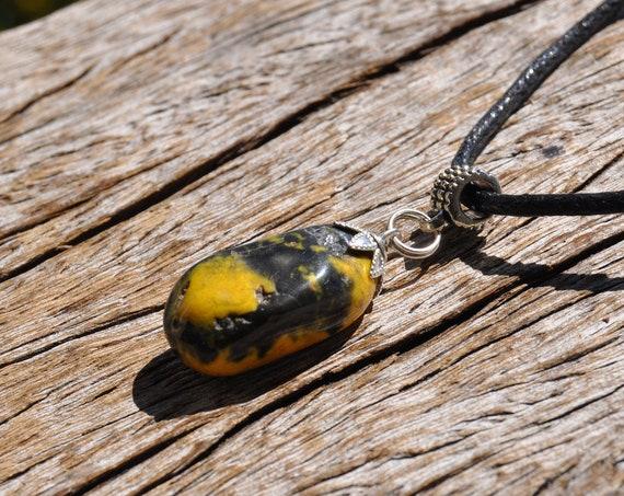 Polished Bumble Bee Jasper Necklace Jasper Pendant, Unisex - FREE Shipping !