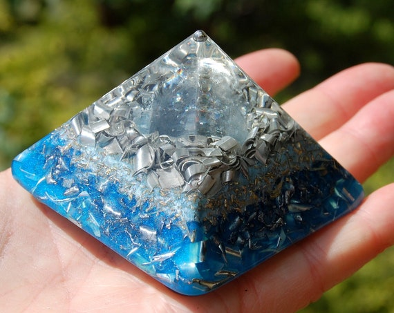 Celestine Celestite real Orgonite®  Small Pyramid