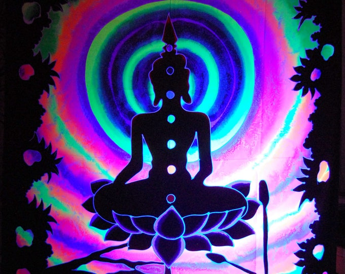FREE Shipping ! Lotus Buddha Chakra Meditation UV Blacklight Handpainted Batik Tapestry Backdrop Unique