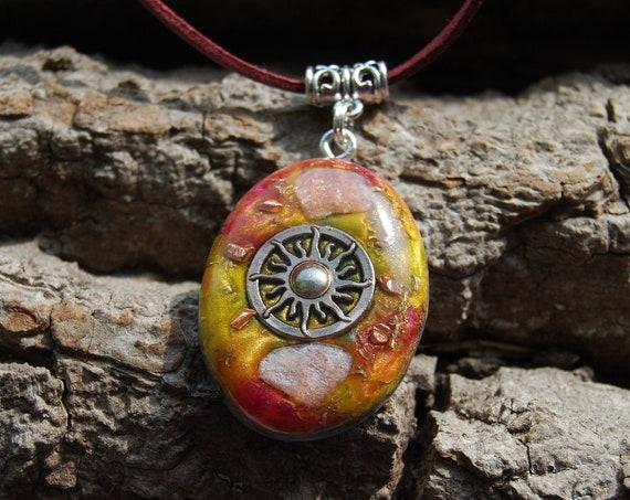 Sun Orgonite® with Sun Stones Pendant Necklace