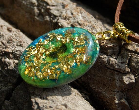 Moldavite Orgonite® Orgone Pendant Necklace with 24K Gold Unisex