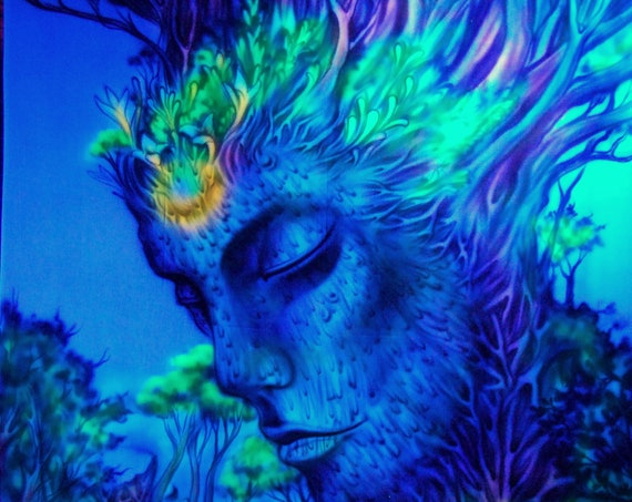 AIRBRUSH UV Backdrop Wallhanging Third Eye Forest Tree Blacklight Tapestry Handpainted   - FREE Shipping !