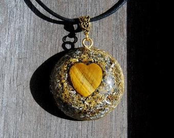 Tiger Eye Heart Orgonite® Orgone Pendant LARGE