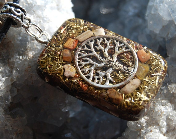 Petrified Wood Orgonite®  Pendant Necklace, Ygdrassil Jewellery, Unisex