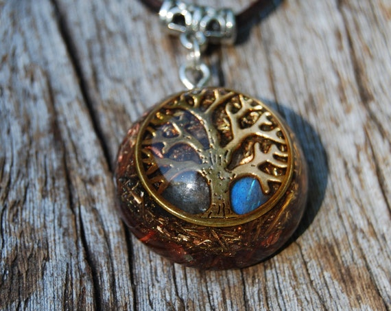 Tree of Life Orgone Orgonite® Pendant Labradorite Small - Adjustable Faux Suede Cord