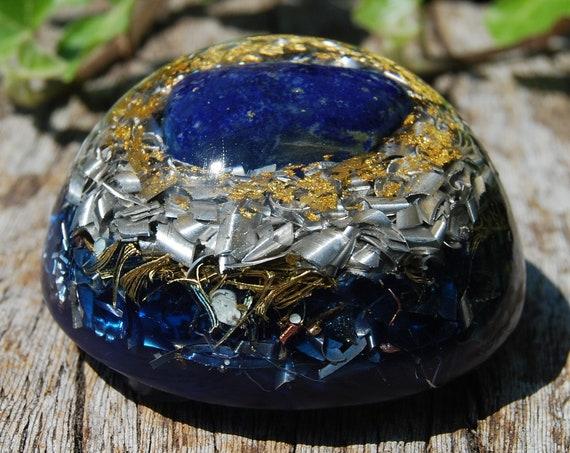 Lapis Lazuli MEDIUM Dome Orgonite® Orgone Generator® with 24K GOld