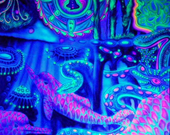 UV Backdrop Airbrush Paint Dolphins uv Active - FREE Delivery !