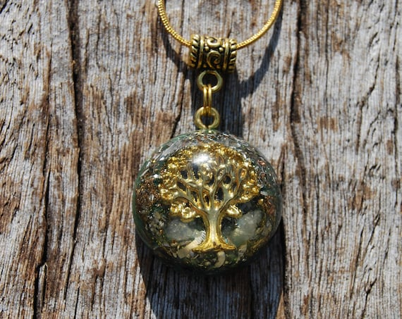 Kunzite Orgonite® Orgone Necklace Pendant with Tree of Life, Small, Unisex