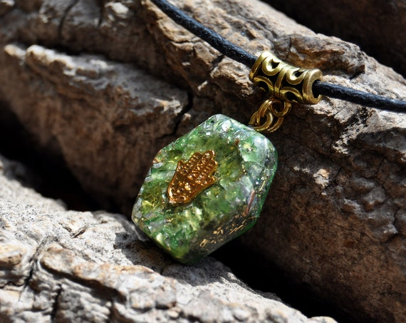 Green Peridot Orgonite® Necklace - Hand of Mary Hamsa Hand Pendant