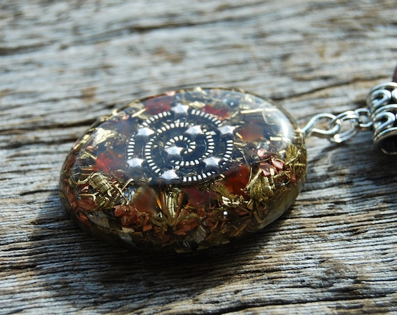 Spiral Galaxy Orgonite® Orgone Pendant Necklace with raw Carnelian Agate on adjustable faux suede cord - Unisex Crystal Jewellery