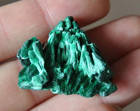Fibrous Velvet Malachite Cluster Mineral Natural Small - 10 grams