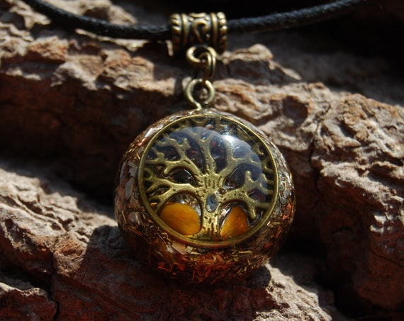 Tree of Life with Tiger Eye Orgonite® Necklace, Small Pendant, Unisex