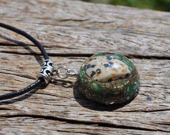 Dalmatian Jasper Pendant Necklace, Orgonite®  Unisex