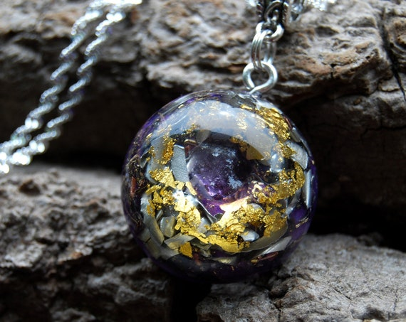 Amethyst Orgonite® with 24K Gold Orgone pendant Necklace Small UNISEX